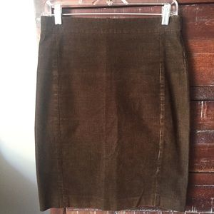 J. Crew Brown Corduroy Textured Pencil Skirt